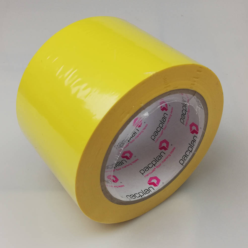 75mm x 33 Metres PVC Floor Marking Tape - Yellow side on