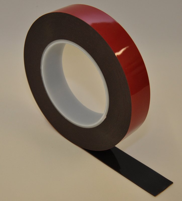 6mm x 1.1mm x 33 Metres Black Structural Acrylic Gel Tape With Red Liner