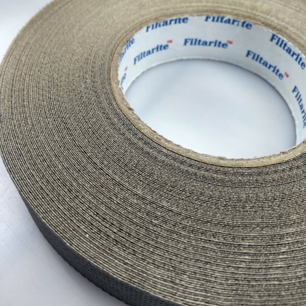 Roll of 25mm x 33 Metres Filter Tape For 16mm Polycarbonate Sheet on its back close up