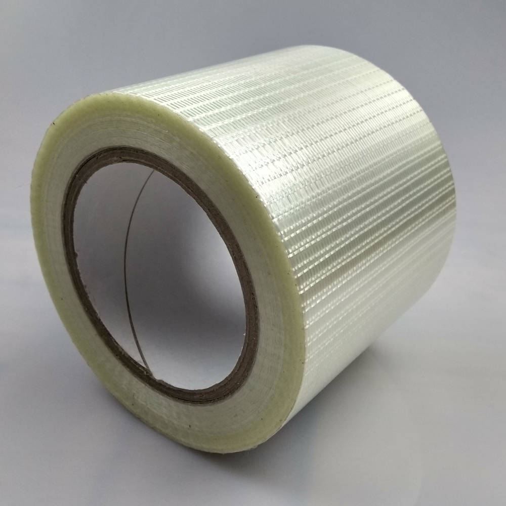 Roll of 100mm Glass Filament Crossweave Strapping Tape tilted up right