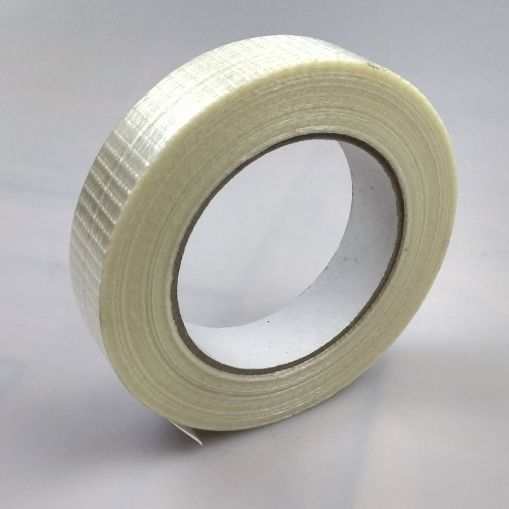 Roll of Glass Filament Crossweave Strapping Tape tilted up right