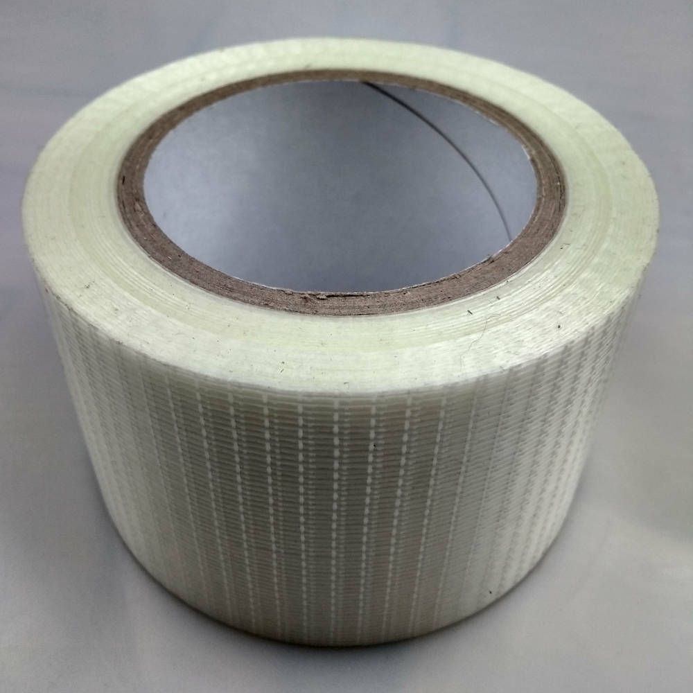 Roll of 75mm Glass Filament Crossweave Strapping Tape on its back