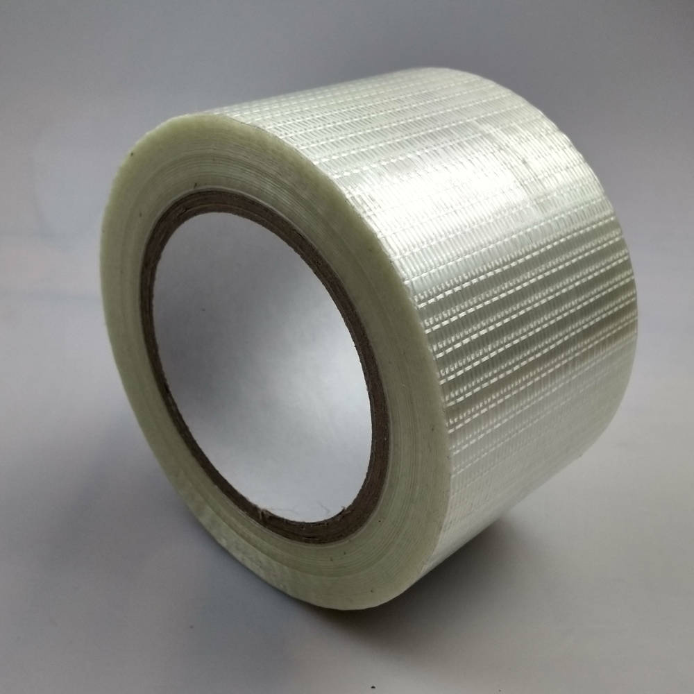 Roll of 75mm Glass Filament Crossweave Strapping Tape up right