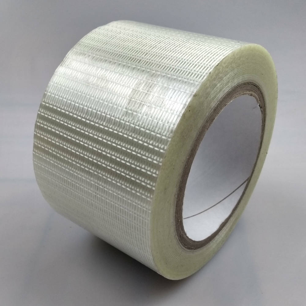 Roll of 75mm Glass Filament Crossweave Strapping Tape tilted up right