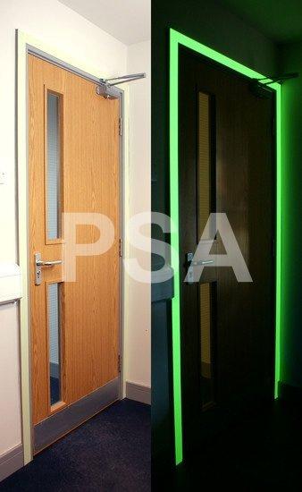 Photoluminescent Glow in the Dark - marking up a door frame in the dark